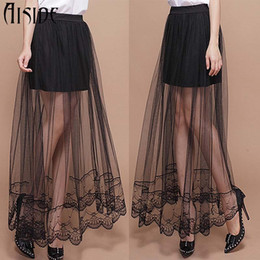 Wholesale Transparent Maxi Skirt - 2016 New Summer sexy Jupe Tulle Maxi Skirt skirts Womens Transparent Lace Trim Asymmetrical High waist Skirt Sexy long Skirts