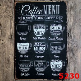 Wholesale Vintage Cafe Menu Know Your Coffee House Metal Tin Signs Old Wall Painting Art Poster Home Decor CM Metal Sign ZA1532