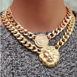 Wholesale Chain Linked Necklace Lion - 18k GP Coin Lion Head Fixed Pendant Cuba Chain Necklace Medallion Queen Western