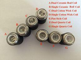 Wholesale Dual Coil Cartomizer Core - MOQ is 10pcs skillet coils wax burner dual quartz ceramic coil replacement core head for skillet vaporizer cartomizer