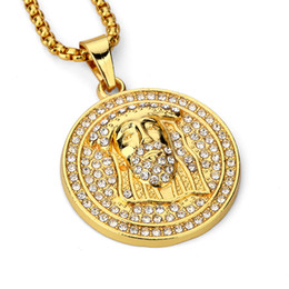 Wholesale Mens Gold Filled Snake Chains - Fashion Men Circle Jesus Pendant Necklaces Style 18k Gold Plated Chains Hip Hop Costume Jewelry Filling Pieces Mens Lucky