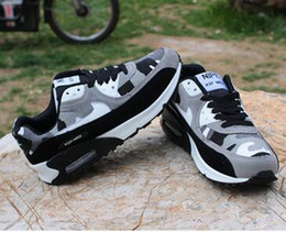 Wholesale Cushions Silver Black - Mens Sneakers Shoes classic 90 Men and women Running Shoes Black Red White Sports Trainer Air Cushion Surface Breathable Sports Shoes 36-45