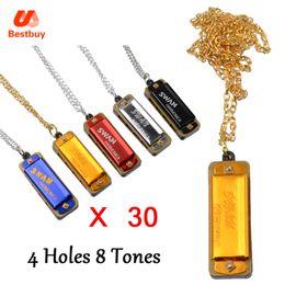 Wholesale Mouth Harmonica - Wholesale-Wolesale 30 pcs Swan Mini Harmonica 4 Holes 8 Tones Harmonica Mouth Organ Metal Chain Necklace Style