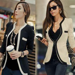 2019 coreano senhoras blazers Terno ocasional Moda Mulheres Terno Casaco Jaqueta Vestidos Casuais OL Roupas de Trabalho Casuais Coreano Senhoras Brancas Terno Preto Blazers coreano senhoras blazers barato