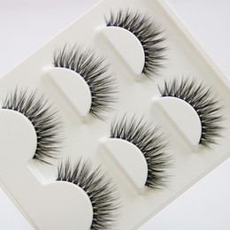 Faux faux cils naturels en Ligne-3 paires de fils de coton manuels purs faux cils transparents épais croix 3D stéréo naturel cils yeux maquillage de scène faux Eyelashe