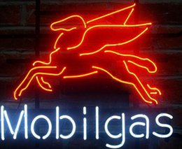 Wholesale Gas Signs - New MOBIL GAS PEGASUS Glass Neon Sign Light Beer Bar Pub Arts Crafts Gifts Lighting Size 22""