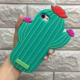 Wholesale Plants Cover - Flowering Cactus 3D Silicone Case For iPhone 6 6S Plus 7 Plus Soft Cartoon Plant Shockproof Dustproof Skin Cover DHL Wholesale