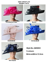 Wholesale Sinamay Wide Brim - Wide brim Sinamay Hats Fascinators Church hats for races,wedding,kentucky derby,5 colors,black,nude beige,royal,hot pink,navy blue.