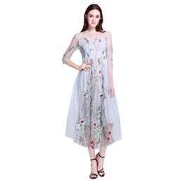 Wholesale Gorgeous Casual Dresses - Runway Dresses 2017 Gorgeous Half Sleeves Sheer Mesh Embroidery Long Dresses Bohemian Brand Style Sundress Vestidos De Festa