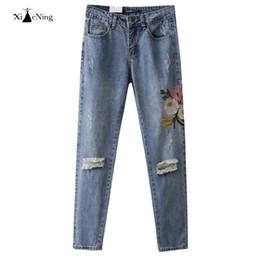 Wholesale Harem Pants Women Pattern - Wholesale- Women 2017 Fashion Hot Sale Vintage Pants Flowers Pattern Embroidery Regular Spandex Denim Harem Pants Woman Jeans Plus Size