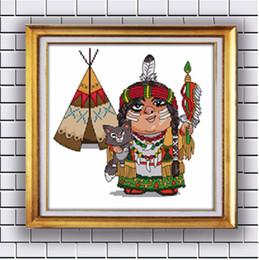 Argentina Historieta india, pinturas de la decoración del hogar de la costura contadas impresas en lona DMC 14CT 11CT China Costuras de punto de cruz fija kits de bordado Suministro