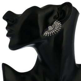 Wholesale Ear Stud Spikes - Fan Half Sun Vintage Style Silve Black Metal Stud Rhinestone Earings Ethnic Spike Punk Ear Studs Nail Earrings For Women