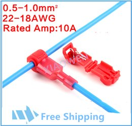 Wholesale Crimp Cable Connectors - 100 PCS Wire Cable Connectors Terminals Crimp Scotch Lock Quick Splice Electrical Car Audio 0.5-1.0mm 22-18AWG Kit Tool Set Red
