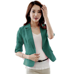 Wholesale Three Quarter Sleeve Suit Jacket - Wholesale- Women Three Quarter Sleeve V Neck Solid Color Coat Lady Button Short Office Suit Jacket Coat Women Plus Size