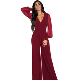 Wholesale Mesh Cuff - Wide Leg Elegant jumpsuits Black V-neck Embellish Cuffs Long Mesh Sleeves Plus Size XXXL Overalls For Women Combinaison Femme 6650