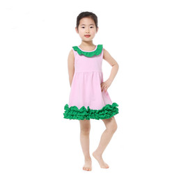 Wholesale Toddler Smocks - New Arrival Baby Girls Clothes Ruffle Cotton Sleeveless Collar Girls Dresses Smock Birthday Girls Outfit Cute Toddler Dress