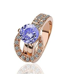 Wholesale diamond ring 18 - Gemstone Ring for Women Gold Plated Rings Fashion Jewelry Wedding Rings Diamond Rhinestone Size 18 mm Personality Wholesale Accessories DHL
