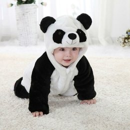 Wholesale Panda Halloween Costume - Mikrdoo Cute Baby Romper Winter Warmer Animal Panda Newborn Bodysuit Cotton Jumpsuit New Kids Costume Fashion Sweet Christmas Hot Clothes