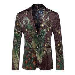 Wholesale Peacock Mens - Blazer Men 2017 Peacock Printed Men Blazers Casual Suit Jacket Slim Fit Homens Blazer Mens Stage Wear Brand Coat Q205
