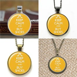 Wholesale Buy Pendants - 10pcs Keep Calm and Buy Shoes glass Necklace keyring bookmark cufflink earring bracelet