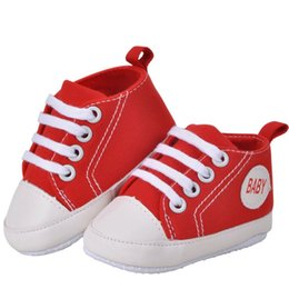 Wholesale Red Crib Shoes - Baby Boy Shoes Newborn Kids Toddlers Canvas Cotton Crib Shoes Lace Up Casual Shoes Prewalker First Walkers