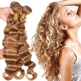 extensiones de cabello de onda profunda rubia Rebajas # 27 Honey Blonde Brazilian Loose Deep Wave Extensiones de cabello virgen 3Pcs Lot Strawberry Blonde Remy Trama de cabello humano Weft 3 Ofertas de paquete