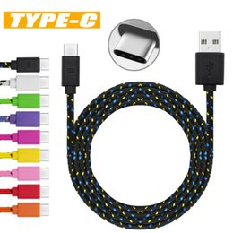 Wholesale Usb Black Light - Fabric Braided Data Sync USB Cable USB Charging Cable USB Type C Cord For Android Cellphone without Package