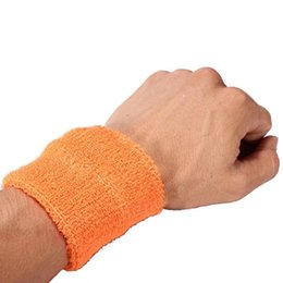 Wholesale Sports Cotton Sweatbands - Unisex Sports Cotton Wrist Sweatbands Hand Wrap Tennis Badminton Band