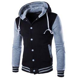 Wholesale Gray Varsity Jacket - Wholesale- New Jacket Men Veste Homme 2016 Fashion Hooded Design Mens Slim Fit College Baseball Jacket Casual Brand Bomber Varsity Jacket
