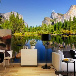 Wholesale Photo Prints Poster - Wholesale-Custom 3D Poster Photo Wallpaper Blue Sky Scenic Landscape Inverted Image Living Room Background Photography Wall Mural Painting