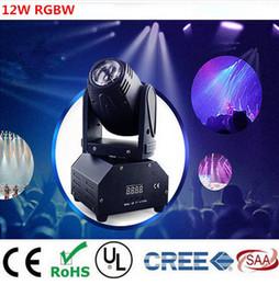 Wholesale Led Disco Spot - 12W RGBW 4in1 moving head DMX512 light beam Lights LED spot Lighting DJ Show Disco Laser Light 2pcs lot