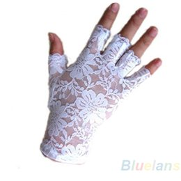 Wholesale Party Gloves Ladies - Wholesale- Hot New Goth Party Sexy Dressy Women Lady Lace Gloves Mittens for AccessoriesFingerless Black White 0JFA