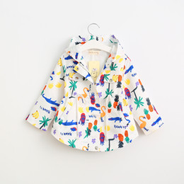 Wholesale Girl Style Trench - Autumn Baby Girls Printed Outwear Kids Girls Fashion Cartoon Trench Coats Babies Hooded Casual Coats 2017 kids clothing