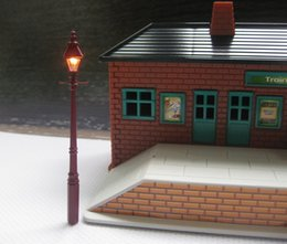 Wholesale Plastic Lamp Pieces - Wholesale- LQS02 Model Railway Antique Lamps Street Lights HO Scale New 2 pieces