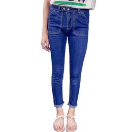 Wholesale Tight Jeans Thin - Wholesale- 2016 summer autumn new high waist tight pencil thin jeans female Korean double pocket nine pants pants students
