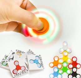 Wholesale Wholesale Tip Up Lights - New LED Light Up Hand Spinners Fidget Spinner Top Quality Triangle Finger Spinning Top Colorful Decompression Fingers Tip Tops Toys In Stock