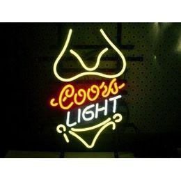 Wholesale Girl Bar Neon Light Sign - Fashion New Handcraft Bikini Girl yellow Coors Light Real Glass Tubes Beer Bar Pub Display neon sign 19x15!!!