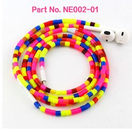 Wholesale Volume Tube - Idoit colorful tube beads necklace earphones with mic and volume control suitable for iphone devices trendy earphone
