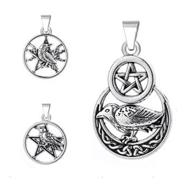 Wholesale Pentagram Metal - Wholesale-Pentagram in circle triple moon Goddess raven crow charms metal clasp