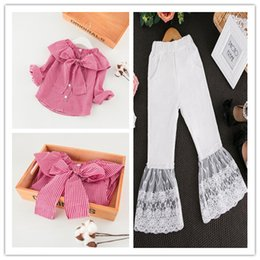 Wholesale Grid Girls Clothing - New Kids Girl 2Pcs Outfits Grid Pretty Top + Lace Loose Pant Children Long Sleeve Clothing Sets 2Colors Children Fashion Clothing