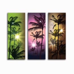 Wholesale three piece painting tree - Tropical Scenery Canvas Prints Coconut Tree Landscape Canvas Painting 3 Pieces Quality Home Decor Unframed(30cmx80cmx3)