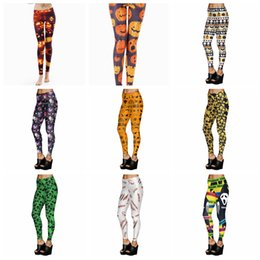 Wholesale new leggings for women - New Arrival Printed Women leggings Halloween skull pumpkins for girl woman Digital Printed leggings Elastic Trousers pants