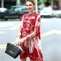 Wholesale 2017 Printemps Nouvelles Femmes Vêtements Europe et Amérique Big Name Broche Cou Impression Perle Soie Mulberry Grande Taille Soie Robe