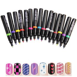 Wholesale 3d Paint Pen For Nails - Wholesale-16 pcs lot Fashion Nail Art Pen for 3D Nail Art DIY Decoration Nail Polish Pen Set 3D Design Nail Beauty Tools Paint Pens