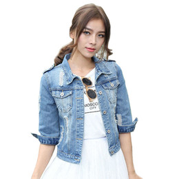 14a64244e02 Chinese Wholesale- Voobuyla Brand Plus Size 5XL Spirng Denim Jacket For Women  2016 Three Quarter