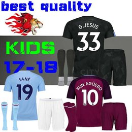 Wholesale Man City Soccer Jerseys - 17 18 kids Man City home KUN AGUERO soccer Jersey Kits STERLING Walker DE BRUYNE GUNDOGAN away Sane Bernardo child Football G.JESUS third