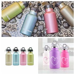 Wholesale Sport Children Water Bottle - 350ml Kids Stainless Steel Double Wall Vacuum Cups Leakage-proof Water Bottle Portable Outdoor Sports Bottle With Carabiner CCA6437 10pcs