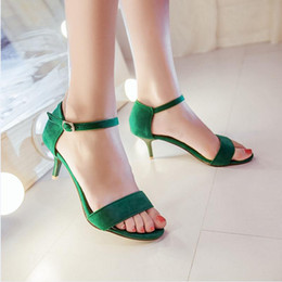 Wholesale Size Black Sexy Shoes - Sexy Women Flat Mid Heel Sandals Fashion Women Beach Shoes Goblet Ankle Straps Cover Heel Open Toe Sandals Size 33-43