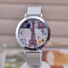 Wholesale Eiffel Towe - 2017 new hot cartoon beautiful butterfly viewing stereoscopic viewing the Eiffel Towe watches SCWH