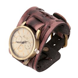 Wholesale Punk Rock Watches Men - New Style Retro Punk Rock Watch Men Fashion Big Wide Leather Bracelet Cuff Mens Quartz Wrist Watch